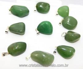10 Pingente Pedrinha Quartzo Verde Prateado ATACADO Reff 111554