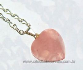 Pingente Coração Quartzo Rosa com Correntinha Prateada Reff PC9093