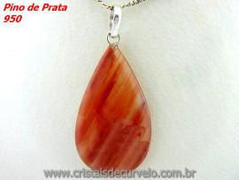 Pingente Gota Pedra Aragonita Vermelha Castoação Prata 950 Pino e Perinha