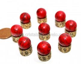 3 Bolinha Pedra Howlita Vermelha 14mm Sem Furo REFF BS6004