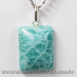 Pingente Retângulo Pedra Amazonita Verde Prata 950 120312