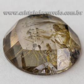 Rutilo Gema Cabochão Oval Natural Montar Prata e Ouro 112758