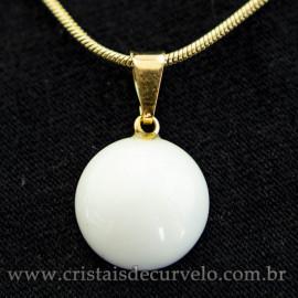 Mini Pingente Disco Dolomita Branca Pedra Natural Pino Dourado