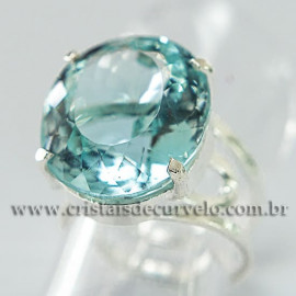 Anel Pedra Topazio Azul Facetado Prata 950 Ajustavel 112442