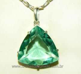 Pingente Trillion Obsidiana Verde Prata 950 Montado na Garra  REF 19.6