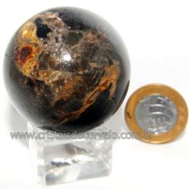 Bola Onix Preto Pedra Natural Lapidado Artesanal Cod 118738