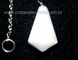 Pendulo Pedra QUARTZO LEITOSO Piramidal Lapidado Invertido Montado Corrente