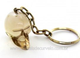 Chaveiro Cranio Cristal Tok Fume Caveirinha Natural Ref CC9223