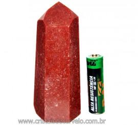 Ponta Quartzo Vermelho Pedra Natural de Garimpo Cod PQ3272