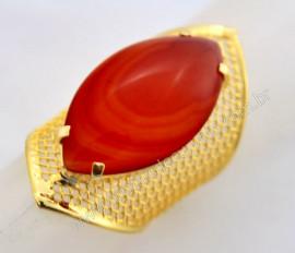 Anel Tela Pedra Agata Cornalina Navete Armação de Luxo Elegante Ajustavel Dourado  AC3109