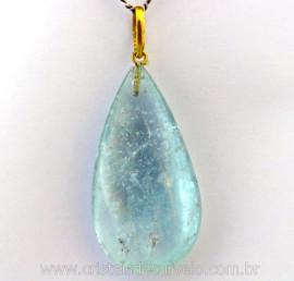 Pingente Gota Pedra Topazio Azul Extra Castoação OURO 18ct Pino e Perinha