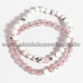 Pulseira Pedra howlita e Quartzo Rosa Para Casal bolinha 6mm