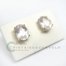 Brinco Prata 950 Pedra Quartz Rosa Sabonete Oval Facetado Trava Tarracha