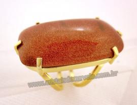 Anel Pedra do Sol Cabochão Retangular Montagem Banho Flash Dourado Aro Ajustavel