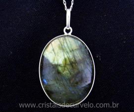 Pingente Pedra Labradorita Cabochao Oval Envolto Prata 950 Pedra Natural REF 27.8