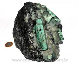 Esmeralda Canudo Incrustado Xisto Pedra Natural Cod CE7998