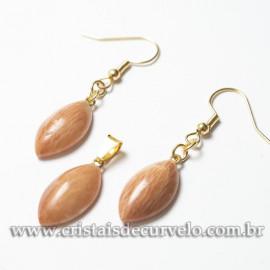 Conjunto Pingente e Brinco Amazonita Pêssego Navete Dourado 120971