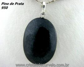 Pingente Cabochão Pedra Quartzo Preto Castoação Prata 950 Pino e Perinha