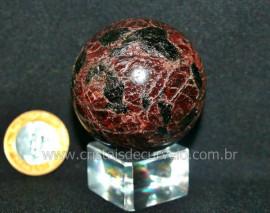 Esfera Granada Rodolita Bola Pedra Natural Garimpo Cod EG8559