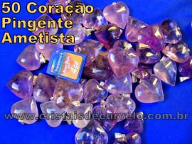 50 Coração AMETISTA Pedra Quartzo Fraco Lilas Pingente Banhado DOURADO