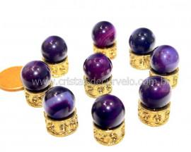 3 Bolinha Pedra Agata Lilas Natural 14mm Sem Furo REFF BS6887
