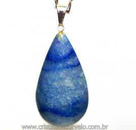Pingente GOTA Quartzo Azul Montagem Prateada Reff PG3143