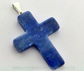 Crucifixo Pedra Quartzo Azul Cruz Pedra Natural Pino e Presilha Banho Flash Prata