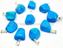 10 Pingente Pedrinha Howlita Azul Pratedo ATACADO Reff PA7017