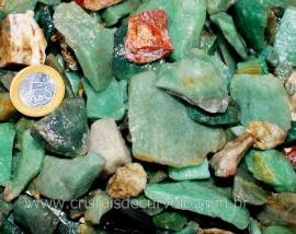 Quartzo Verde Comum Em cascalho Pcte 1 KG Sem Lapidar Pedra pra Orgonite Promoção