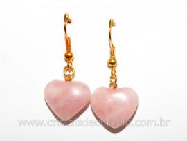 Brinco Coração Pedra Quartzo Rosa Montagem Anzol Reff BC2433