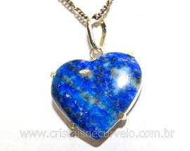 Pingente Coração Lapis Lazuli Pedra Natural Montagem Prata 950 Garra REFF P28701