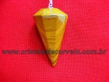 Pendulo JASPE AMARELO Pedra Natural P Radiestesia Lapidação Facetado Brinde Corrente