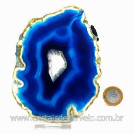 Chapa de Agata Azul Porta Frios Bandeja Pedra Natural 123499