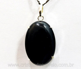 Pingente Cabochão Obsidiana Negra Prata 950 Garra REFF PC3874