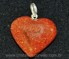 Pingente Coração Pedra do Sol Castoação Prata 950 Pino e Perinha