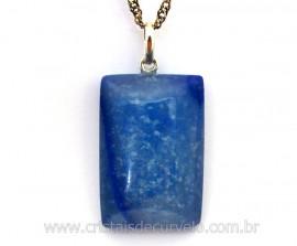 Pingente Retangulo Quartzo Azul Montagem Pino Prata 950 PP1951