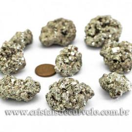 05 Pirita Peruana 35mm Pedra Bruta Natural P/ Orgonite ATACADO