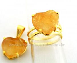 Conjunto Anel Pingente Coração Pedra Citrino Dourado CP1707