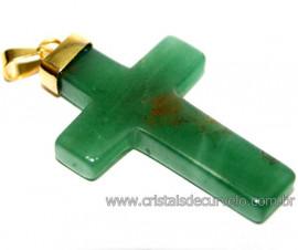 Crucifixo Quartzo Verde Pingente Cruz Pedra Natural  Banho Flash Dourado