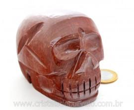 Cranio Pedra Dolomita Marrom Natural Caveira Esculpido Skull Stone Cod CM683.3