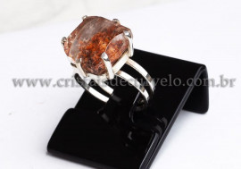Anel Prata 950 Cristal Lodolita Natural Aro Ajustavel 112376