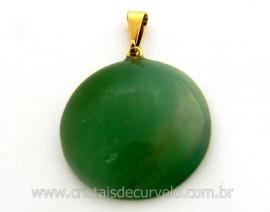 Pingente Disco Cabochão Quartzo Verde Pedra Natural Castoação Pino Dourado