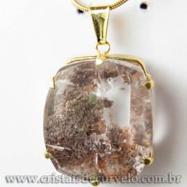 Pingente Pedra Cristal Lodolita Baguette Garra Dourada 112947
