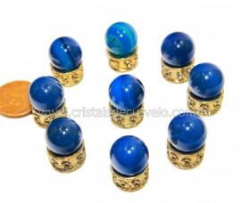 3 Bolinha Pedra Agata Azul Natural 14mm Sem Furo REFF BS2422