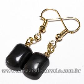 Brinco Retangular Pedra Obsidiana Negra Tamanho P Montagem Dourado