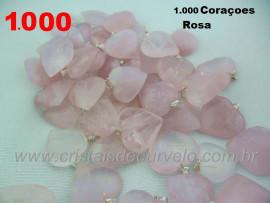 1.000 Coração ROSA Pedra Quartzo Pingente Banhado Prata