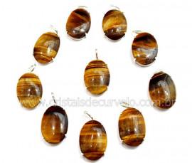 5 Pingente Cabochão Olho de Tigre Prata 950 Garra REFF CP6398