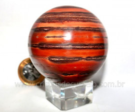 Esfera JASPE RAJADO Pedra Natural Colecionador Lapidado Manual Cod BJR302.3