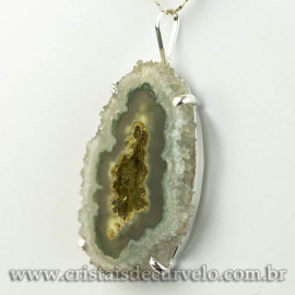 Pingente Flor de Ametista Pedra Natural Garra Prateado 120614