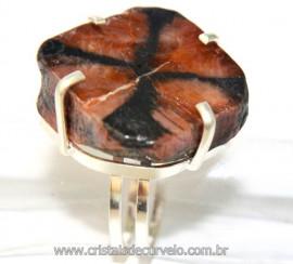 Anel Pedra da Cruz ou Quiastorita Prata 950 aro ajustável Cod AP7928